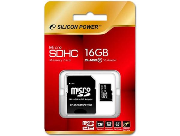 Карта памяти SDHC-micro (TransFlash) 16GB Silicon Power SP016GBSTH010V10-SP