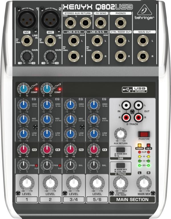 Микшерный пульт Behringer XENYX Q802USB, 6 каналов, USB, входы 2 микрофонных/4 линейных(2 моно/2 стерео), выходы 2 линейных/Jack, 1 AUX-шина
