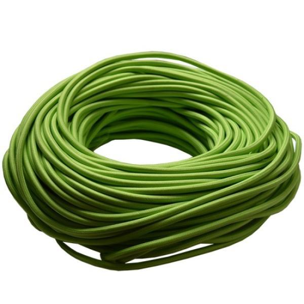 Кабель электрический силовой 2х0.75мм, многожильный, медь, зеленый, в тканевой оплетке, вискоза, оболочка ПВХ, диаметр 5мм, бухта 50м, цена за 1 метр