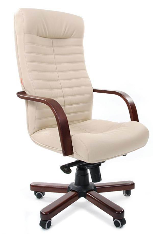 Кресло Chairman CH-480 WD, бежевый, экокожа премиум 101, эргономичное, механизм качания TG, подлокотники закругленные, крестовина-дерево, регулировка высоты сиденья-газлифт, до 120кг