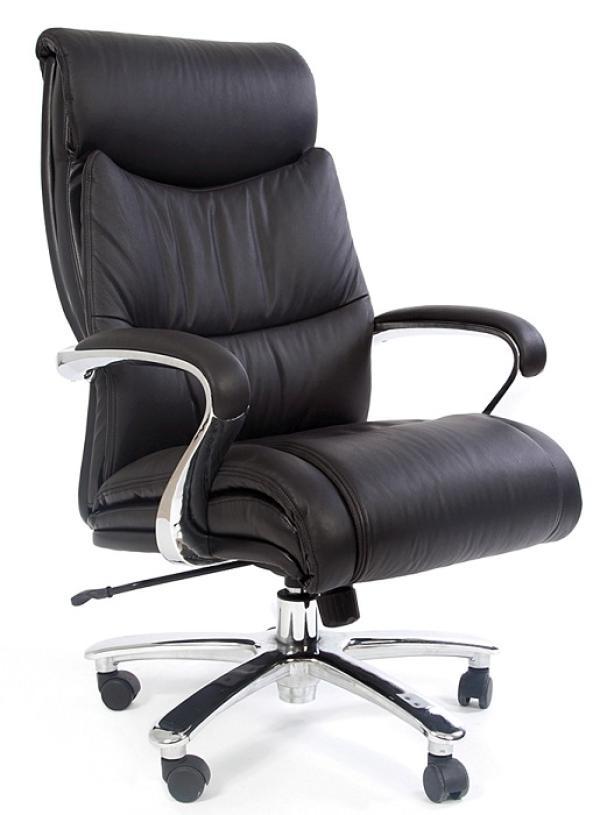 Кресло Chairman CH 401, черный, кожа/кожзаменитель, механизм качания TG, подлокотники закругленные с мягкими накладками цельнометаллические, крестовина-хром, регулировка высоты-газлифт, до 250кг