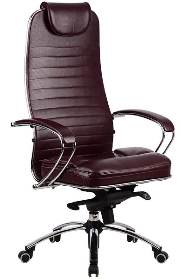 Кресло Метта Samurai KL-1, темно-бордовый, кожа, механизм качания MB, подлокотники закругленные с мягкими накладками, подголовник, крестовина-металл, регулировка высоты-газлифт, до 120кг