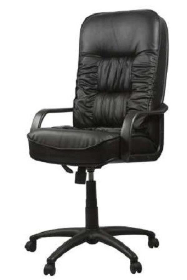 Кресло OLSS Болеро, черный, кожа Консул, механизм качания TG, закругленные подлокотники, крестовина - пластик, регулировка высоты - газлифт, до 120кг