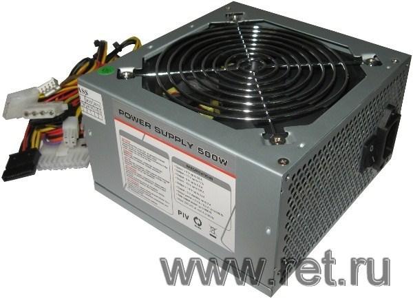БП для корпуса ATX Gembird CCC-PSU6m, 500Вт, P4 20+4pin, 2*4pin(molex)/FD/2*SATA, 120*120мм