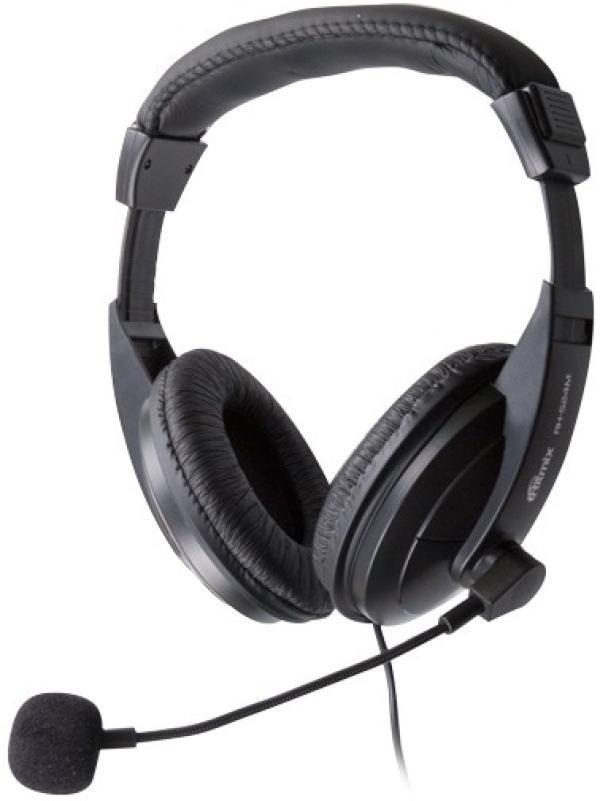 Наушники с микрофоном проводные дуговые закрытые Ritmix RH-524M, 40мм, 20..20000Гц, кабель 2м, 2*MiniJack, регулятор громкости, черный