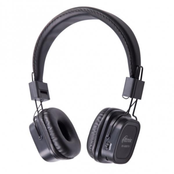 Наушники с микрофоном беспроводные BT дуговые закрытые Ritmix RH-480BTH, 40мм, 20..20000Гц, Bluetooth 4.0, MicroSD/MicroSDHC, MP3/WMA/FLAC/APE/WAV, MiniJack/USB, FM радио, 5ч, черный