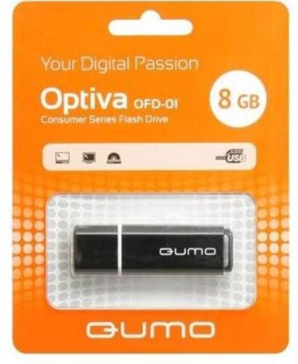 Флэш-накопитель USB2.0   8GB QUMO Optiva OFD-01 QM8GUD-OP1-black, черный