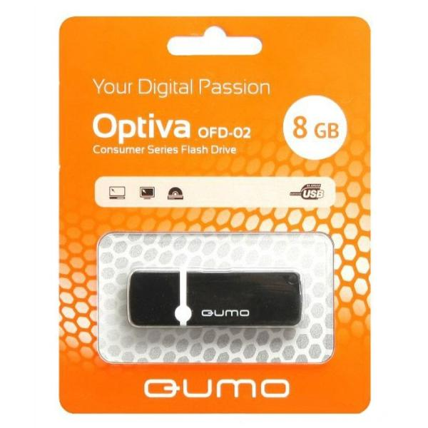 Флэш-накопитель USB2.0   8GB QUMO Optiva OFD-02 QM8GUD-OP2-black, черный