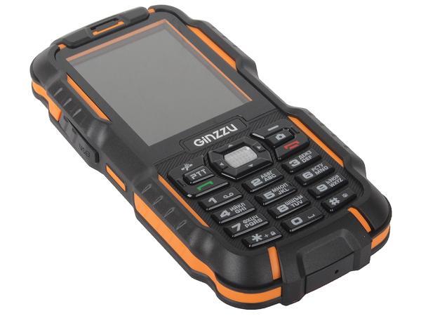 """Мобильный телефон 2*SIM Ginzzu R6 Dual, GSM850/900/1800/1900, 2.4"""" 320*240, 2Мпикс, SDHC-micro, BT, WAP, MP3 плеер, пыле-водонепроницаемый IP67, Walkie-Talkie, 58*129*22мм 161г, черный-оранжевый"""