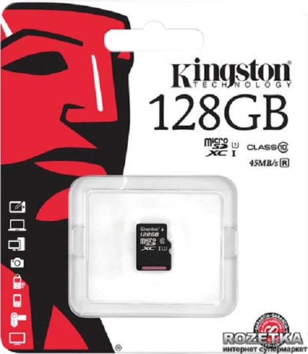 Карта памяти SDXC-micro 128GB Kingston SDC10G2/128GBSP