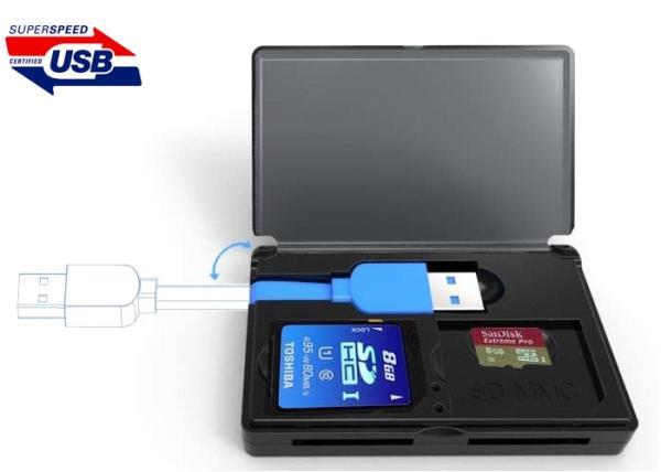 Считыватель внешний Orient CR-305, SD/SDHC/SDXC/SD-micro/SDHC-micro/SDXC-micro/T-Flash, USB3.0, черный