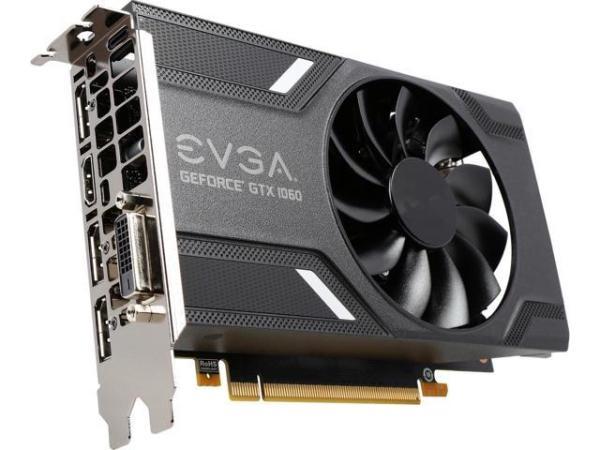 Видеокарта PCI-E Gf GTX1060 EVGA 06G-P4-6161-KR, 6GB GDDR5 192bit 1518/8008Гц, PCI-E3.0, HDCP, 3*DisplayPort/DVI/HDMI, 120Вт