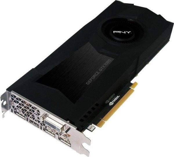 Видеокарта PCI-E Gf GTX1070 PNY GF1070GTXCD8GEPB, 8GB GDDR5 256bit 1506/8000МГц, PCI-E3.0, HDCP, 3*DisplayPort/DVI/HDMI, SLI, 150Вт