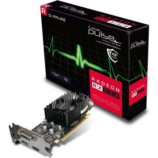 Видеокарта PCI-E Radeon RX 550 Sapphire PULSE, 4GB GDDR5 128bit 1206/6000МГц, PCI-E3.0, HDCP, DisplayPort/DVI/HDMI, Heatpipe, 65Вт, 11268-09