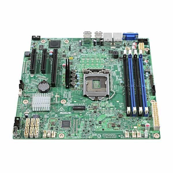 Материнская плата S1151 Intel DBS1200SPSR, C232, 4DDR4 ECC Dual Channel, PCI-E3.0x16 (x4), 2*PCI-E2.0x8, VGA, 6*SATAIII RAID (0 1 5 10), 2*USB2.0/2*USB3.0, 2LAN1Gb, mATX