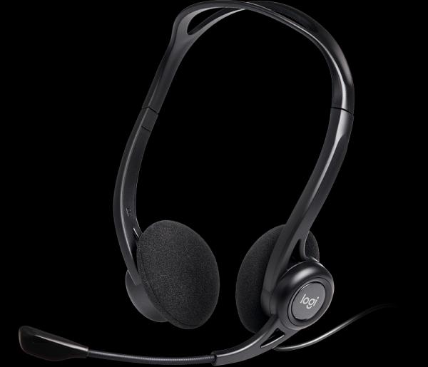Наушники с микрофоном проводные дуговые открытые Logitech Headset 960 USB, 100..10000Гц, микрофон - 200..6000Гц, кабель 2.4м, USB, регулятор громкости, динамические, черный