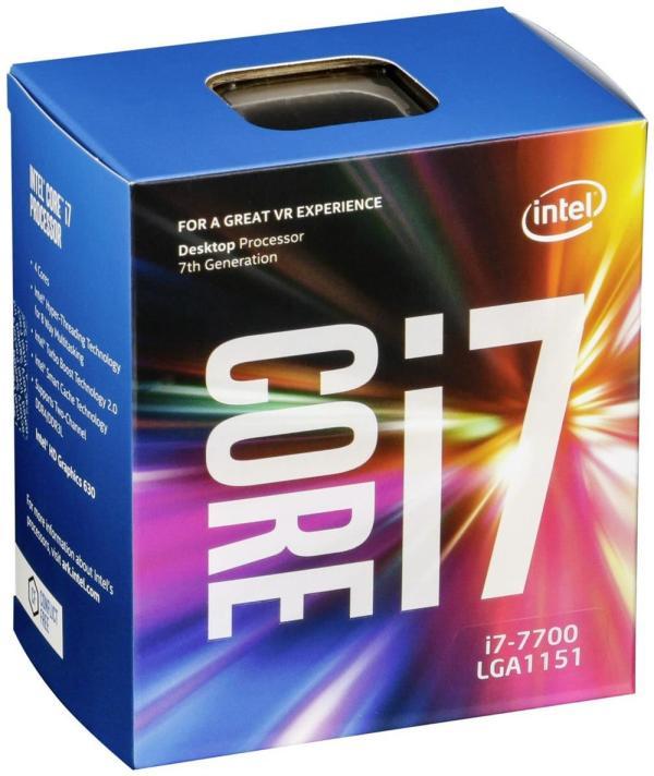 Процессор S1151 Intel Core i7-7700 3.6ГГц, 4*256KB+8MB, 8ГТ/с, Kaby Lake 0.014мкм, Quad Core, видео 1150МГц, 65Вт, BOX