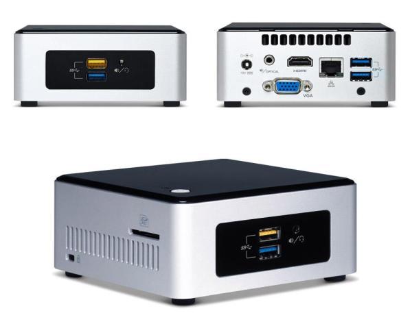 Платформа Intel BOXNUC5PGYH0AJ, Pentium N3700 1.6, SO-DIMM DDR3 2GB / 32GB/ LAN1Gb/ WiFi/ 6USB2.0/ HDMI/ VGA/  SD/ неттоп 65Вт, черный-серебристый