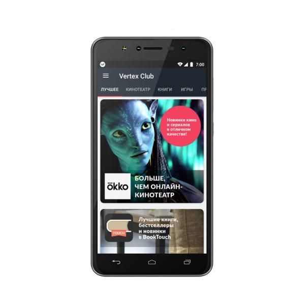 "Смартфон 2*sim Vertex Impress Baccara, 4*1.25ГГц, 16GB, 5.5"" 1280*720, SD-micro, 4G/3G, GPS, BT, WiFi, G-sensor, радио, 3 камеры 13+5/8Мпикс, Android 7, 72*151*10мм 184г, черный"