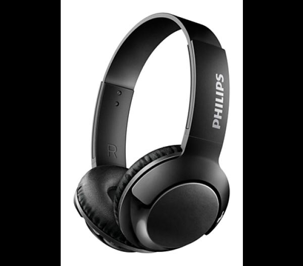 Наушники с микрофоном беспроводные BT дуговые закрытые Philips SHB3075BK/00, 9..21000Гц, Bluetooth 4.1, A2DP/AVRCP/HFP/HSP, microUSB, регулятор громкости, поворотные чашки, 12ч, черный