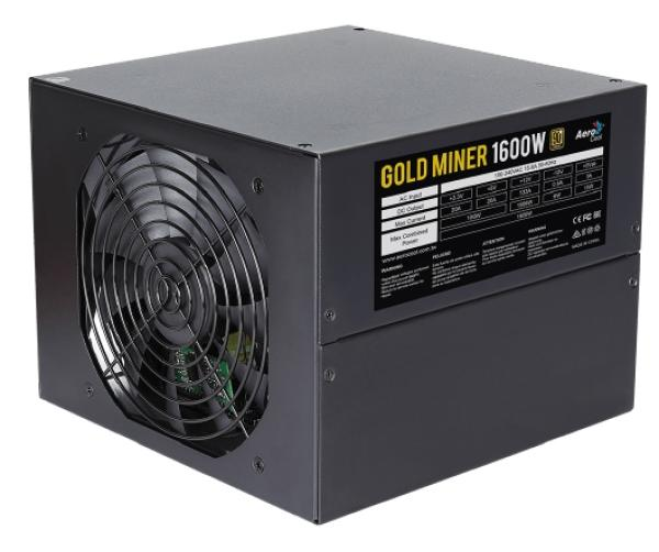 БП для корпуса ATX Aerocool GOLD MINER 1600, 1600Вт, 80 PLUS Gold, 20+4pin, 4+4pin(CPU)/12*6+2pin(PCI-E)/11*4pin(molex)/4*SATA, 2*140*140мм