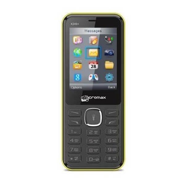 """Мобильный телефон 2*SIM Micromax X249+, GSM900/1800, 2.4"""" 320*240, камера 0.3Мпикс, SD-micro, BT, запись видео, диктофон, WAP, MP3 плеер, FM радио, 49.5*119*12.3мм 80г, желтый, восстановленный"""