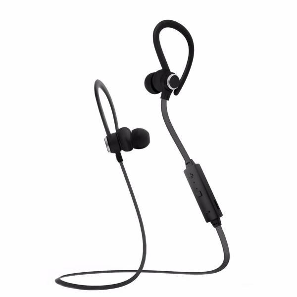 Наушники с микрофоном беспроводные BT крепление на ухе вставные Smarterra BTHS-6, 20..20000Гц, Bluetooth 4.1, A2DP/AVRCP/HFP/HSP, регулятор громкости, металл/магнит, черный