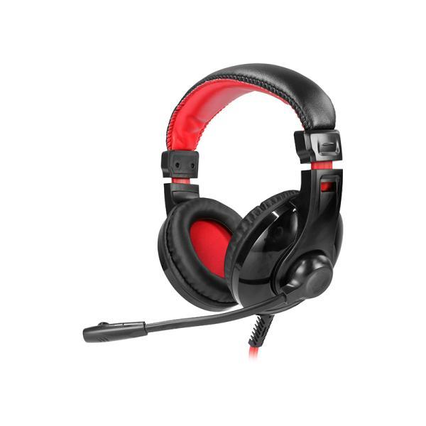 Наушники с микрофоном проводные дуговые закрытые QUMO GHS 0009 Fire, 40мм, 20..20000Гц, кабель 2.2м, 2*MiniJack, игровые, черный-красный