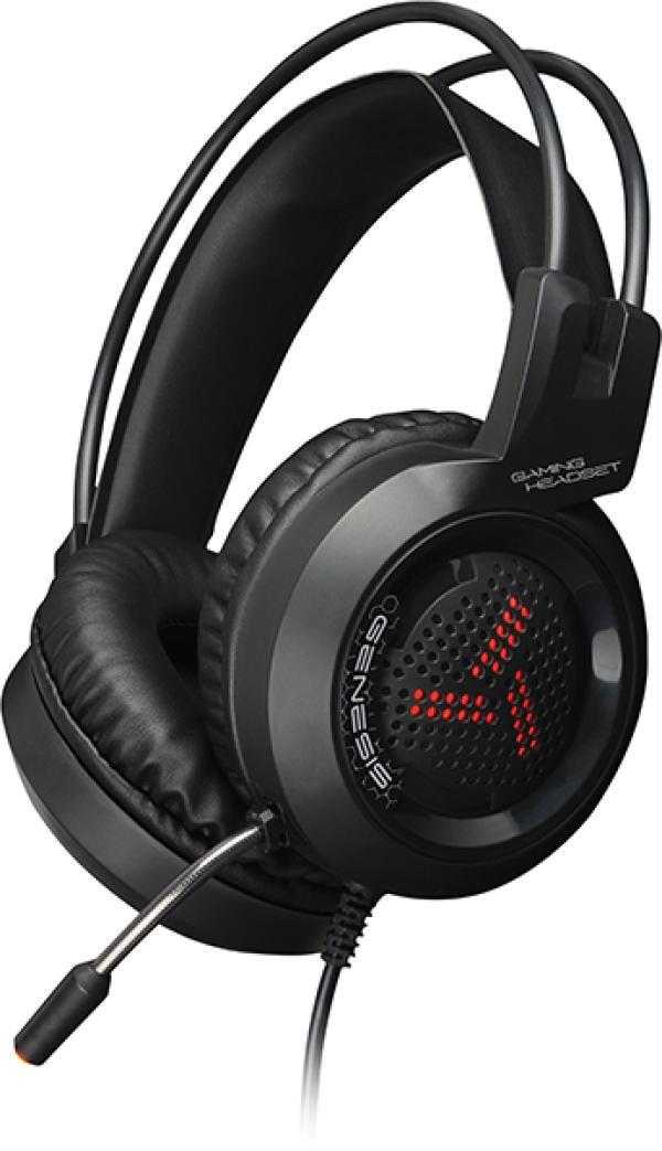 Наушники с микрофоном проводные дуговые закрытые QUMO GHS 0012 Genesis, 40мм, 20..20000Гц, кабель 2.2м, USB/2*MiniJack, подсветка, игровые, черный