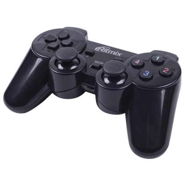 Игровой манипулятор GamePad беспроводной для PC/PS3 Ritmix GP-020WPS, USB, 4 позиции, 6 кнопок, 2 аналоговых джойстика, 4 триггера, вибрация, черный