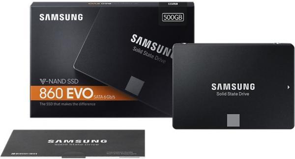 "Накопитель SSD 2.5"" SATA  500GB Samsung 860 EVO MZ-76E500BW, SATAIII, 3D TLC, 550/520MB/s, 512MB"