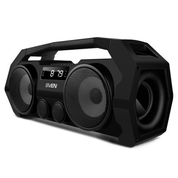 Колонки  Bluetooth  мобильные с MP3 плеером Sven PS-465, 18Вт, 100..22000Гц, USB, линейный вход, FM-радио, SD-micro, аккумулятор, пластик, 400*190*154мм 2050г, черный