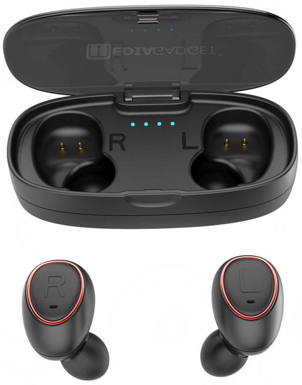 Наушники с микрофоном беспроводные BT вставные MEDIAGADGET AERO TWINS AT400C, 20..20000Гц, Bluetooth 4.1+EDR, зарядный кейс, 2.5ч/10ч, красный