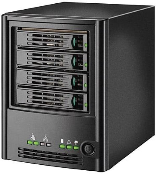 Сетевое устройство хранения данных Intel SS4000E, 4*НЖМД SATA горячая замена RAID, 2*LAN1Gb, 2*USB2.0, Intel 80219 400МГц, 256M, Web-интерфейс, DHCP/FTP, клиенты Windows, черный