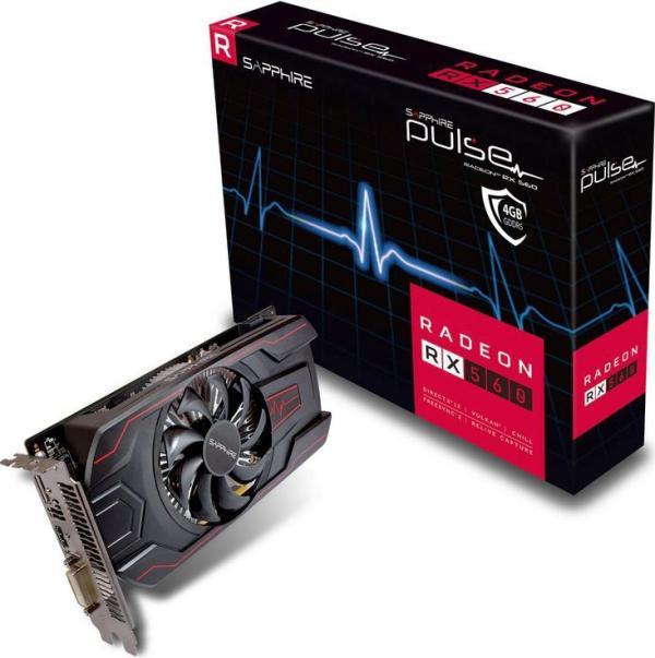 Видеокарта PCI-E Radeon RX 560 Sapphire PULSE, 4GB GDDR5 128bit 1216/6000МГц, PCI-E3.0, HDCP, DisplayPort/DVI/HDMI, Heatpipe, 75Вт, 11267-18