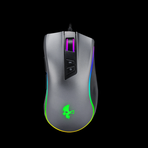 Мышь оптическая JETAccess JA-GH27, USB, 7 кнопок, колесо, 2500/1000dpi, подсветка, программируемая, серый