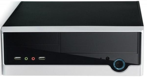 "Корпус Mini-ITX Desktop Foxconn RS233, 250Вт, P4 20+4pin, 1*5.25""+1(1)*3.5"", Audio/2*USB2.0, 1(1) вент., черный-серебристый"