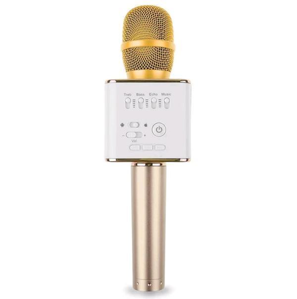 Микрофон караоке беспроводной Q9 Gold, 2*5Вт, 100..10000Гц, Bluetooth 4.1, USB, эффекты, Li-ion/2600мАч/7ч, золото