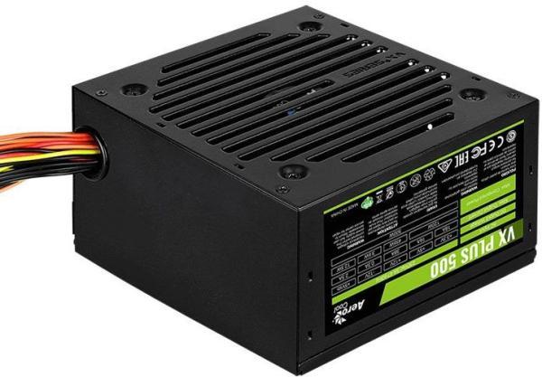 БП для корпуса ATX Aerocool VX-500 PLUS, 500Вт, 20+4pin, 4+4pin(CPU)/ 6+2pin(PCI-E)/ 3*4pin(molex)/FD/3*SATA, 120*120мм, Active PFC