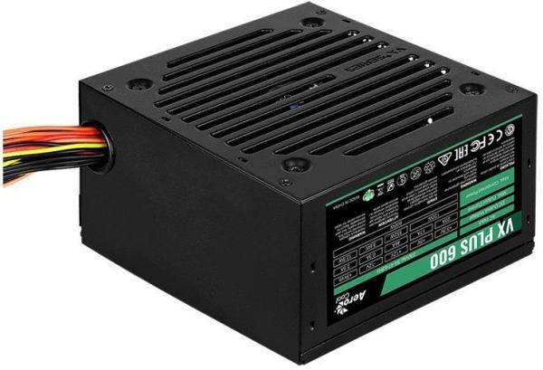 БП для корпуса ATX Aerocool VX-600 PLUS, 600Вт, 20+4pin, 4+4pin(CPU)/2*6+2pin(PCI-E)/3*4pin(molex)/FD/3*SATA, 120*120мм, Active PFC, терморегулятор