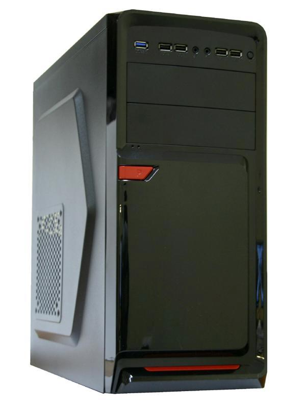 "Корпус ATX MidiTower Trin 6021 BK-RD-BK, без БП, 2(3)*5.25""+0(3)*3.5""+0(1)*2.5"", Audio/1*USB3.0/4*USB2.0, черный"