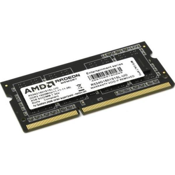 Оперативная память SO-DIMM DDR3  4GB, 1600МГц (PC12800) AMD R534G1601S1SL-U, 1.35В