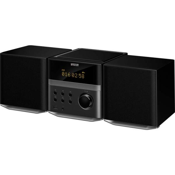 Музыкальный центр Mystery MMK-720UB black, 2*15Вт, CD/DVD, MP3/MP4/WMA, USB2.0, AUX/SPDIF(Coaxial)/ miniJack/RCA, Bluetooth/FM, черный
