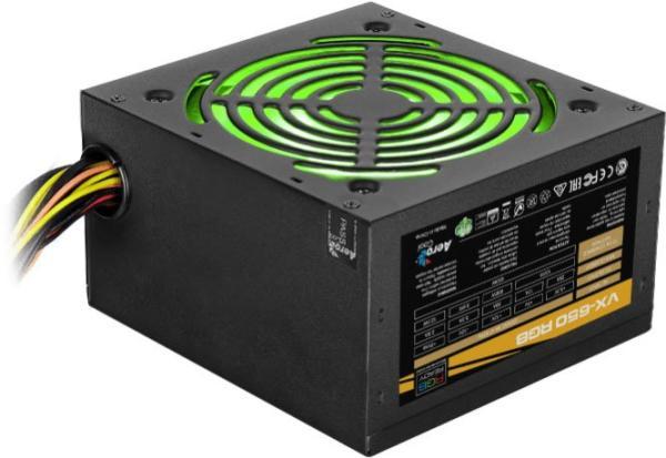 БП для корпуса ATX Aerocool VX-650 RGB, 650Вт, 20+4pin, 4+4pin(CPU)/2*6+2pin(PCI-E)/4*4pin(molex)/FD/4*SATA, 120*120мм, подсветка