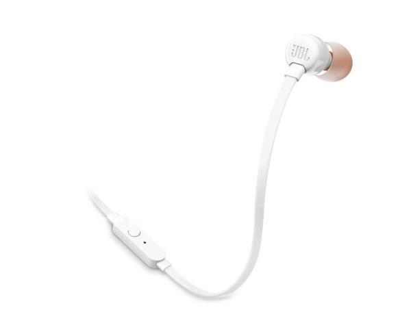 Наушники с микрофоном проводные вставные JBL T110, 20..20000Гц, кабель 1.2м, MiniJack, динамические, белый