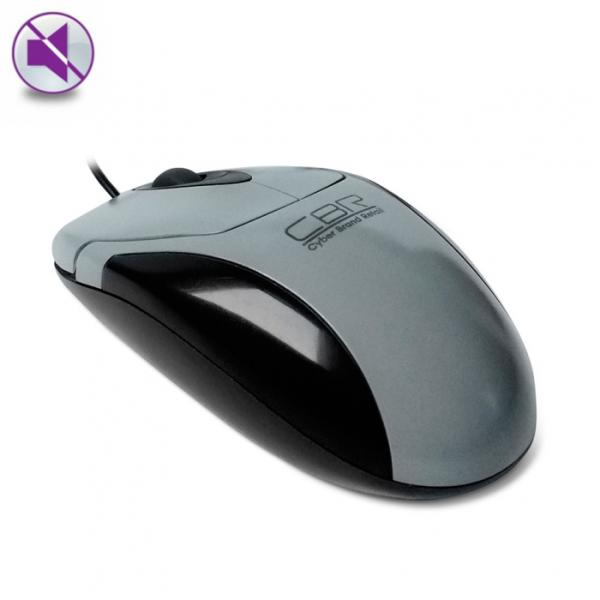 Мышь оптическая CBR CM 302, USB, 2 кнопки, колесо, 1200dpi, бесшумная, серый-черный
