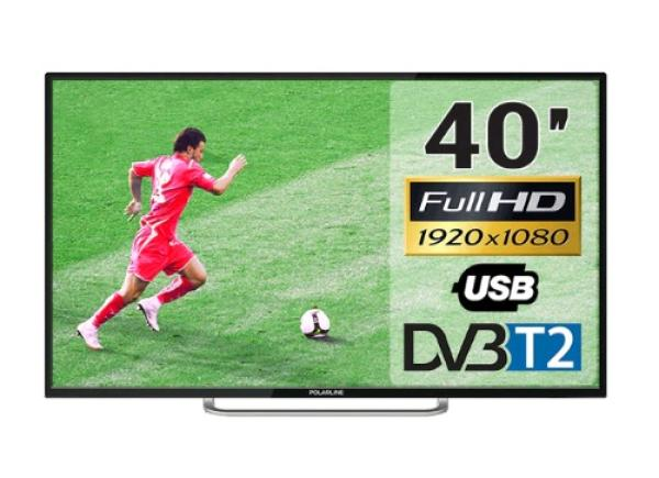 "ТВ LED 40"" POLARLINE 40PL51TC, 1920*1080, 3HDMI/RCA/VGA/SCART, SPDIF(Coaxial)/MiniJack, CI+/2USB2.0, JPEG/MP3/MPEG4/MKV, PVR/Time Shift, DVB-T2/C, 2*6Вт, черный"