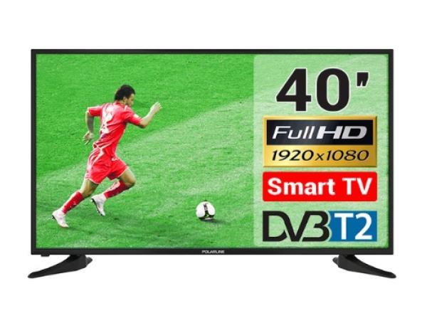 "ТВ LED 40"" POLARLINE 40PL51TC-SM, 1920*1080, 3HDMI/RCA/VGA/SCART, SPDIF(Coaxial)/MiniJack, CI+/2USB2.0, JPEG/MP3/MPEG4/MKV, Smart TV/Android, PVR/Time Shift, DVB-T2/C, 2*8Вт, черный"