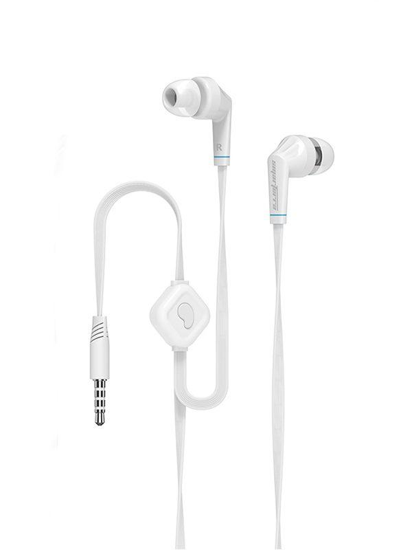 Наушники с микрофоном проводные вставные Smarterra XQ-100M, 5..24000Гц, кабель 1.2м, MiniJack, позолоченные контакты, плоский кабель, белый