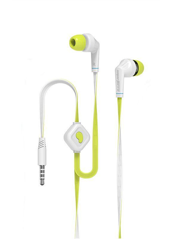Наушники с микрофоном проводные вставные Smarterra XQ-100M, 20..20000Гц, кабель 1.2м, MiniJack, позолоченные контакты, плоский кабель, белый-зеленый
